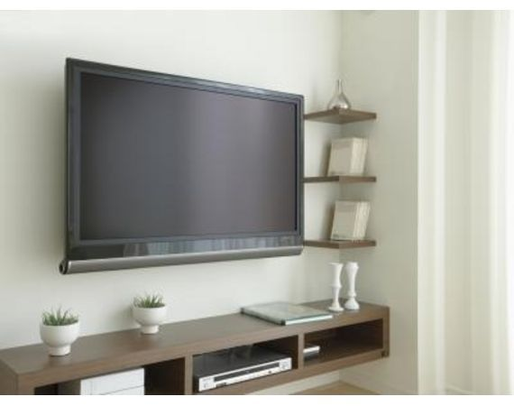 How To Wire A Wall Mounted Flat Screen Ehow Home Living Room Tv Wall Floating Shelves Living Room