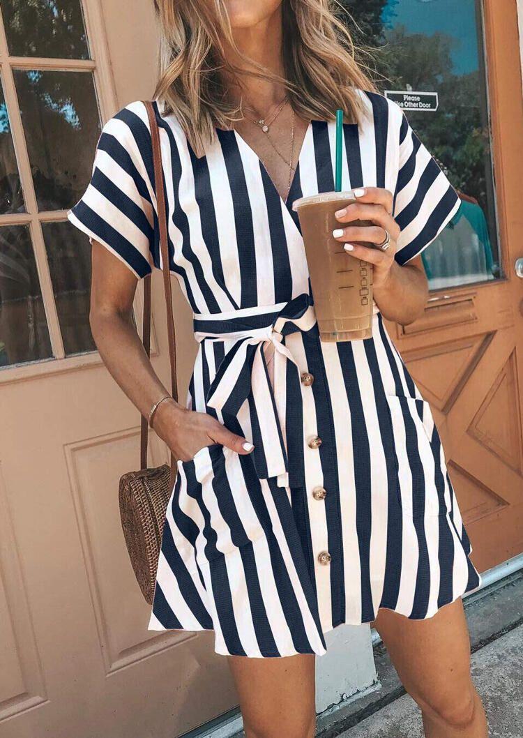 Presale Striped Button Pocket Mini Dress Without Necklace Ad Button Affiliate Striped Presale Poc Striped Mini Dress Striped Casual Dresses Fashion [ 1058 x 750 Pixel ]
