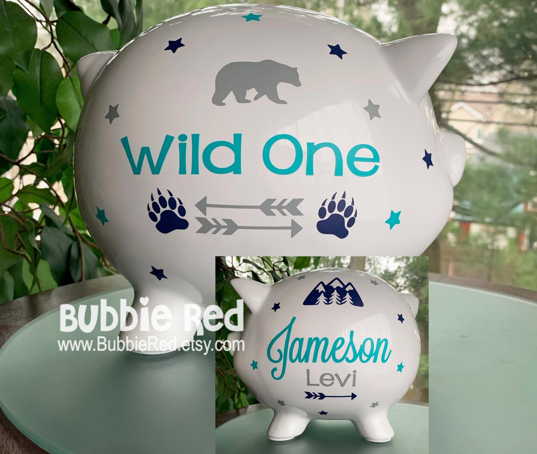 Personalized Piggy Bank Mountain Bear Arrow Piggy Bank Baby Boy Baby Shower Gift Baby Boy Gift Wild On In 2020 Baby Boy Gifts Personalized Piggy Bank Baby Arrow