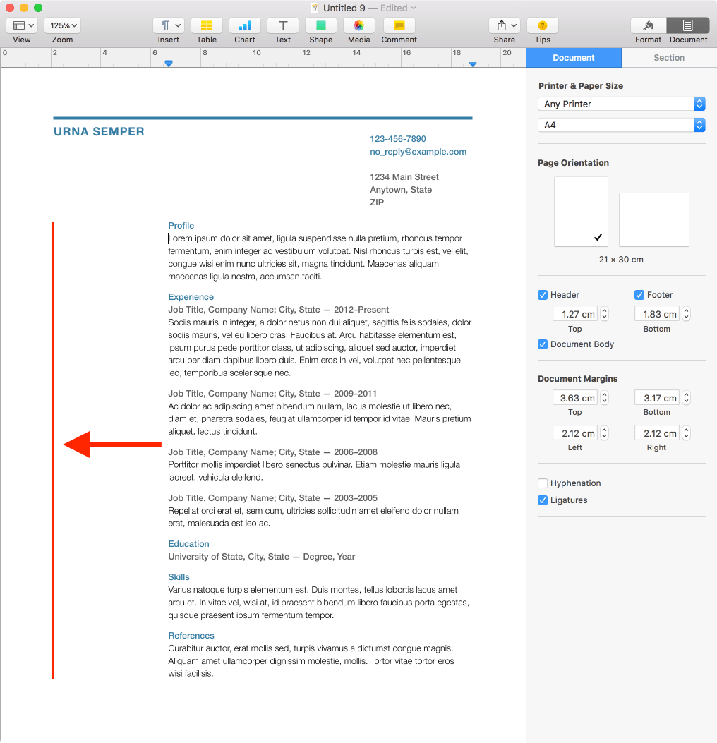 Margins Resume templates, Resume format, Resume