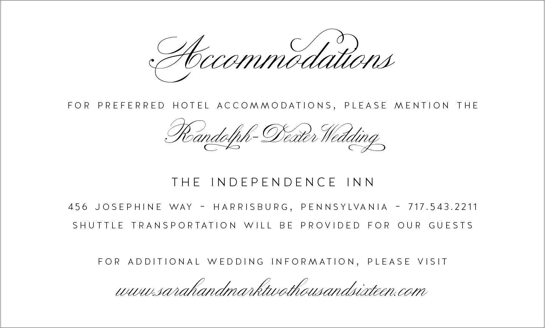 What S In A Wedding Invitation Wedding Direction Cards Wedding Directions Wedding Accommodations