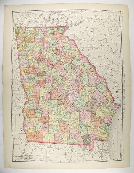 Large Map Of Georgia Antique Georgia Map Southern State GA - Large map of georgia
