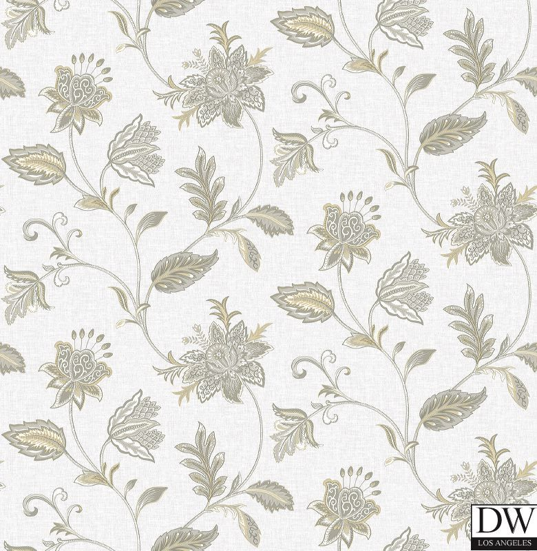 Georgette Haze Jacobean Wallpaper  [FFA-82007] Frederica Frontere   Color: Haze   DesignerWallcoverings.com   Luxury Wallpaper   @DW_LosAngeles   #Custom #Wallpaper #Wallcovering #Interiors