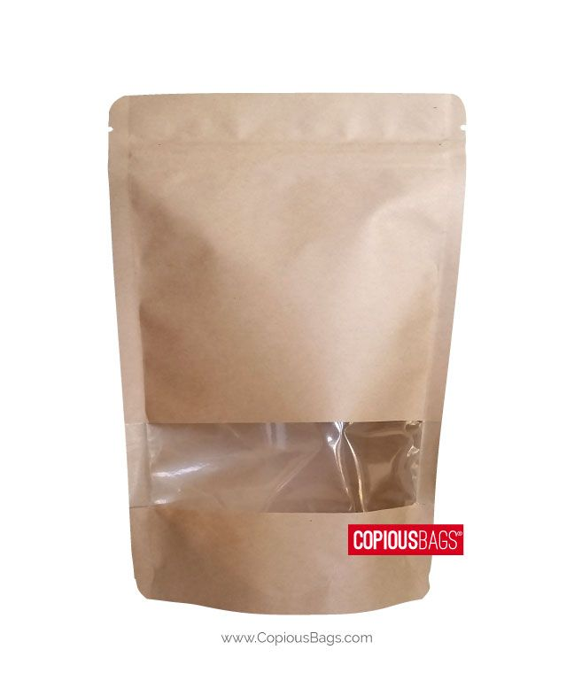 Download 2 Oz Kraft Window Stand Up Pouch Pouch Packaging Plastic Food Packaging Resealable Pouch