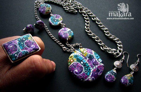 Conjunto de anillo ajustable, collar largo y pendientes mosaico  http://www.facebook.com/artesaniaMakara