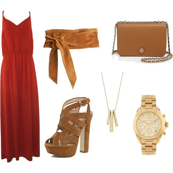 Fall outfit idea - Maxi Orange Dress with Tan Accesories!