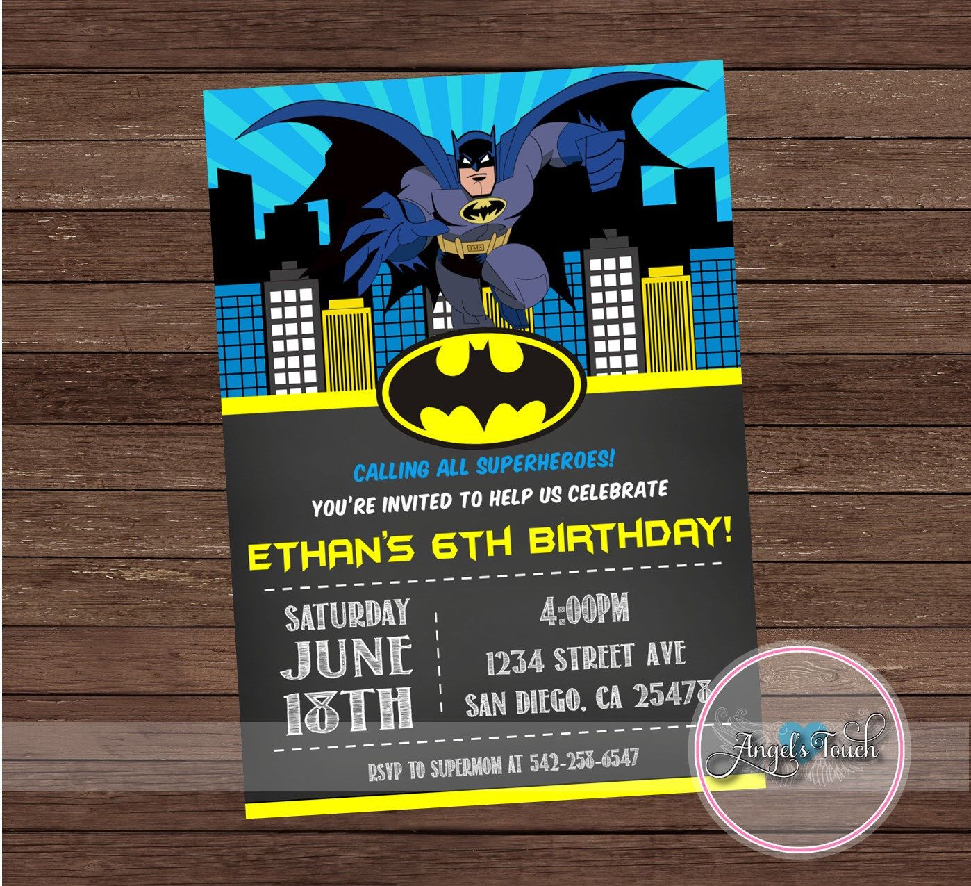 Batman Party Invitation, Batman Birthday Invitation, Batman Birthday ...