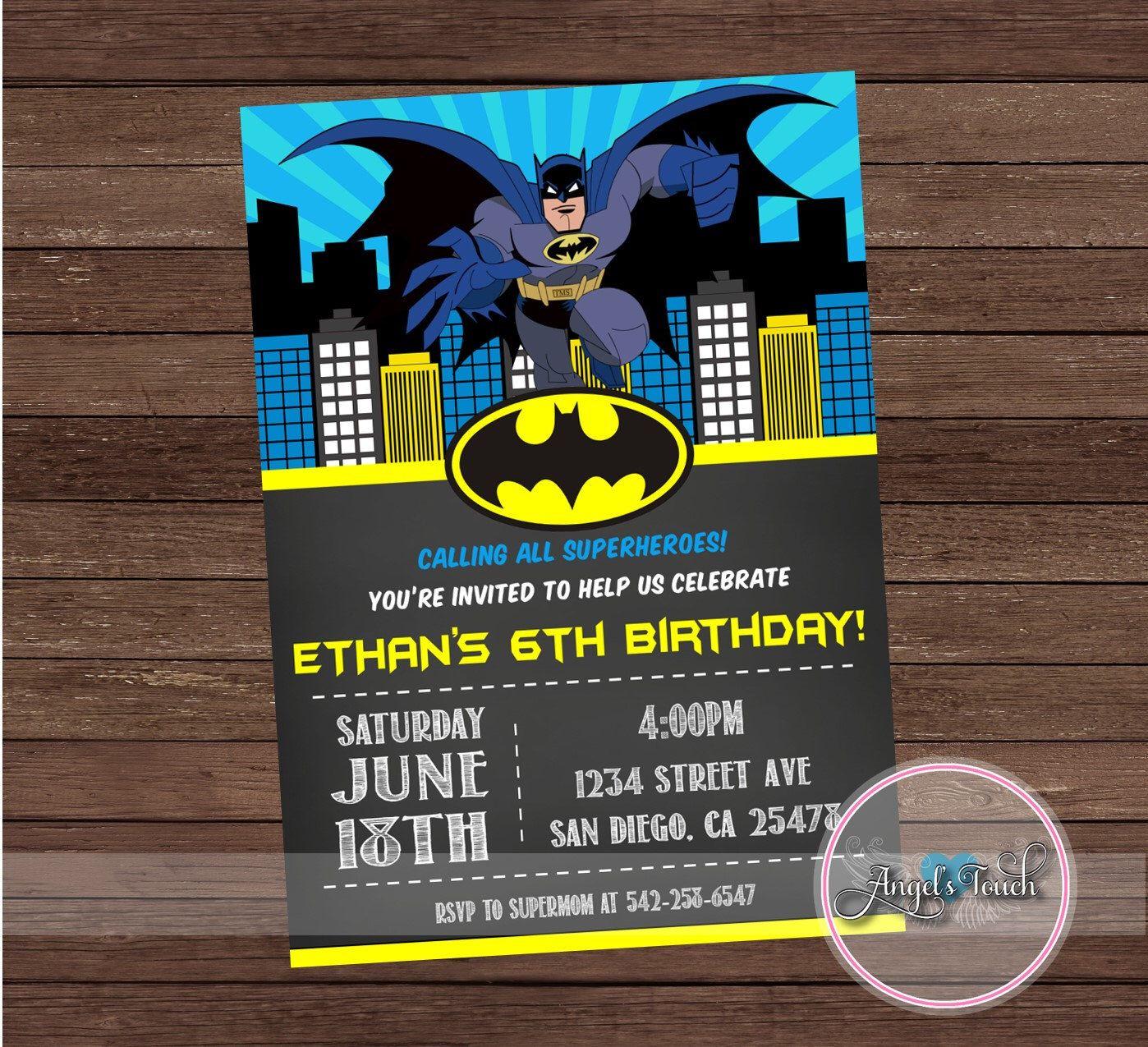 Batman Party Invitation, Batman Birthday Invitation, Batman Birthday ...