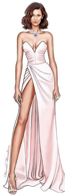 Photo of Bella Hadid in Alexandre Vauthier at cannes 2017 digital drawing by David Mandei…