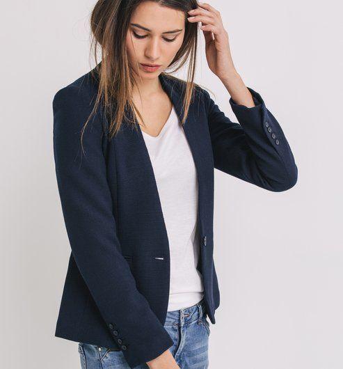 best website b1432 2ab66 Veste+de+tailleur+piquée+Femme Blanc ou Marine PROMOD Veste Blazer Femme