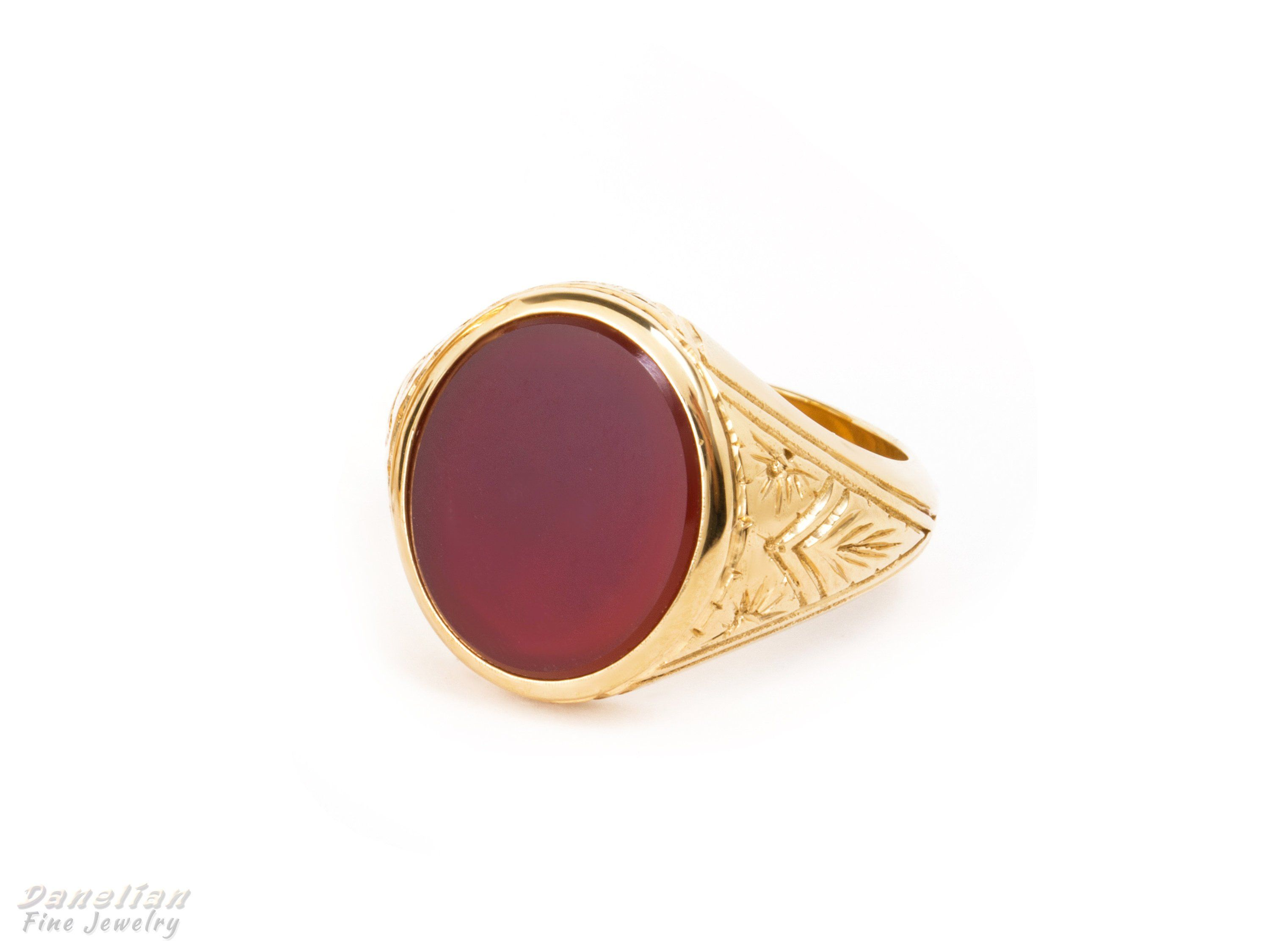 Mens Red Ruby Ring in 10K SOLID Fine Yellow GOLD with 2 Onyx Gemstone Accents