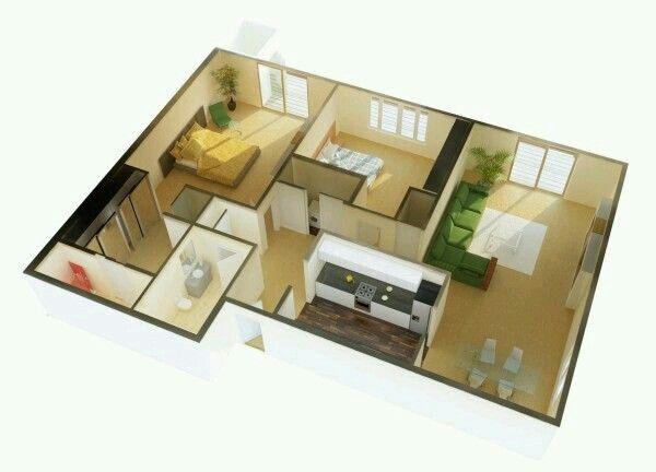 Pequeno Apartamento De 2 Quartos  Arquitetura  Pinterest Awesome 2 Bedroom House Interior Designs Design Decoration