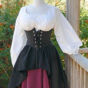 renaissance pirate dress waist cincher corset circle skirt