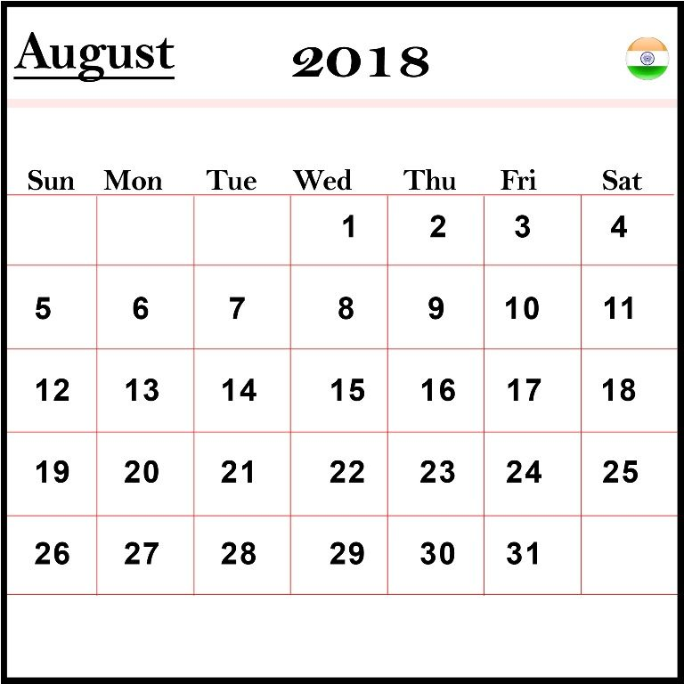 august 2018 calendar india with holidays