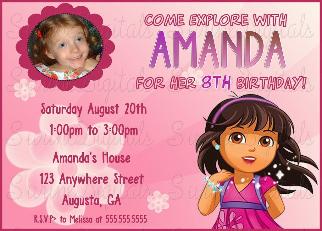Dora and Friends Girls Birthday Invitation with your childs photo ...