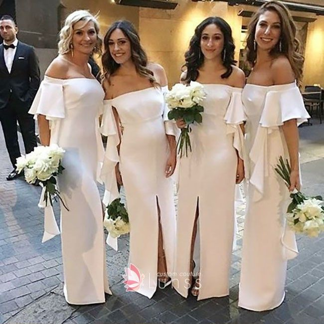 ad8a5fb00a2 Glamorous white chiffon ruffled off-the-shoulder sheath long bridesmaid  dresses with side slit. Off-the-shoulder neckline with ruffles detail.