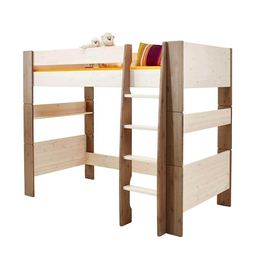 Hochbett in Braun Weiß Kiefer Massivholz Kinderzimmer