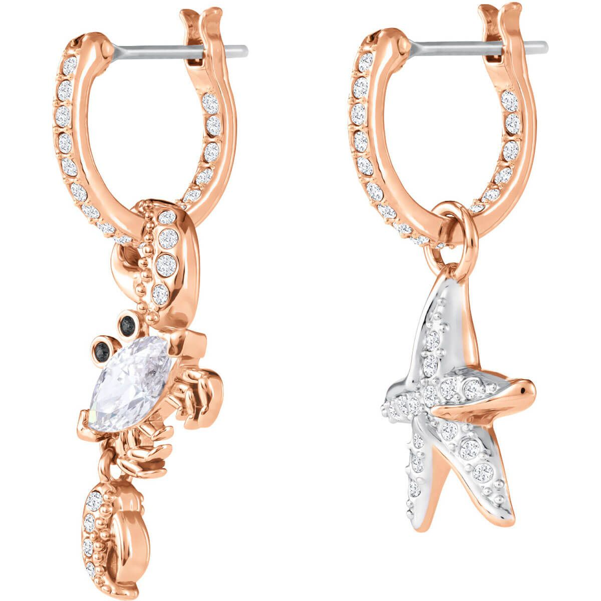 91763a4db Ocean Crab Pierced Earrings, White, Rose gold plating exclusively on  Swarovski.com