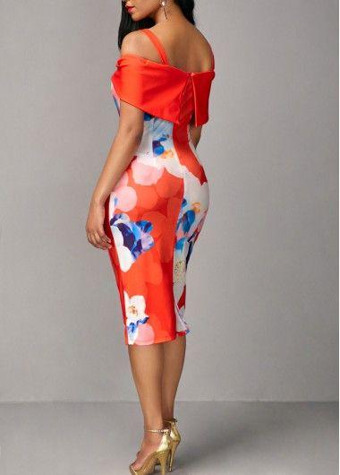 f060d945373b Cold Shoulder Flower Print Orange Spaghetti Strap Dress on sale only US 32.53  now