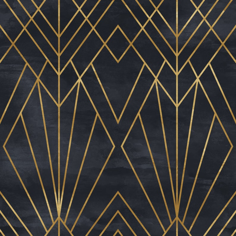 Removable Peel N Stick Wallpaper Self Adhesive Wall Etsy Art Deco Pattern Art Deco Wallpaper Art Deco Design