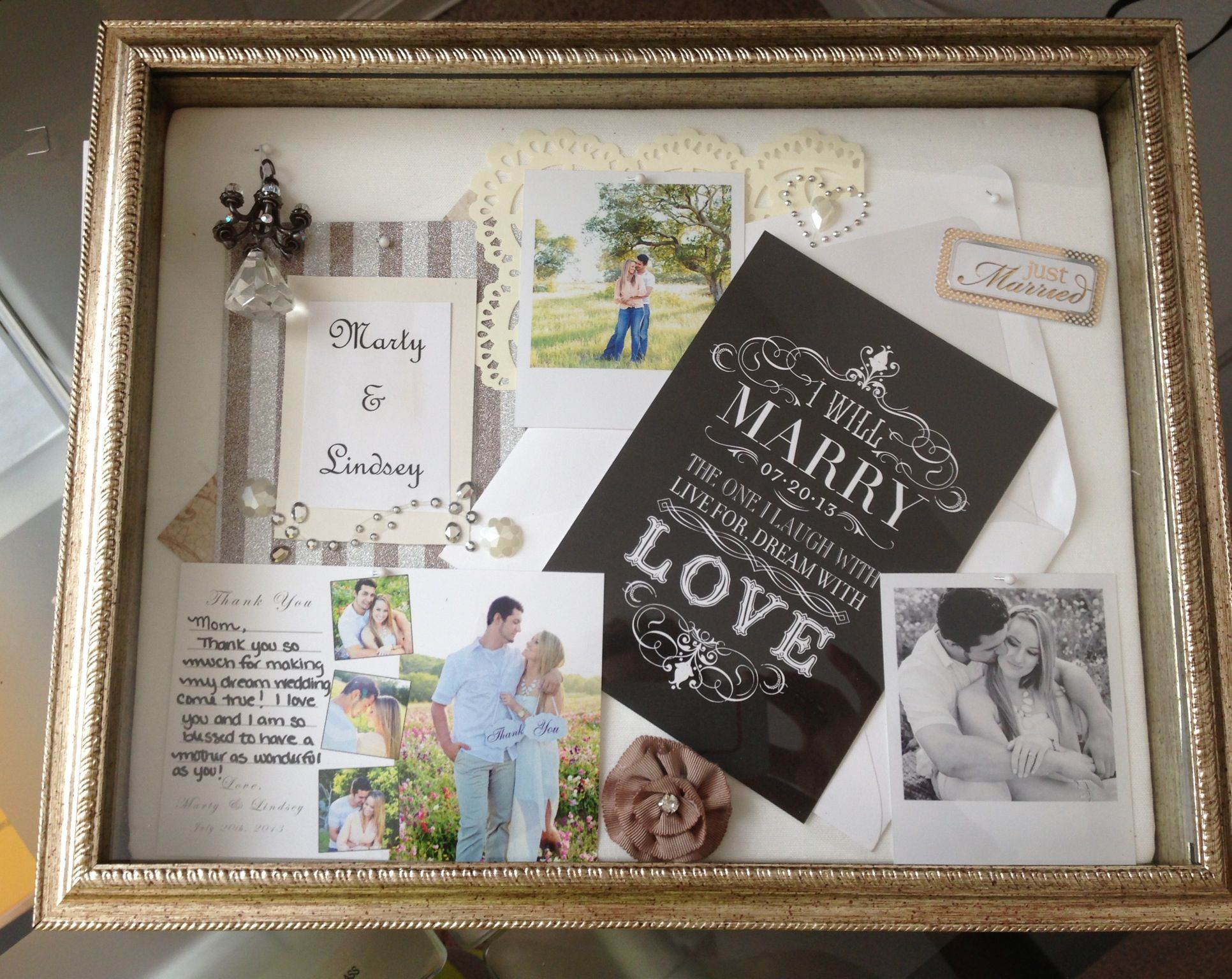 Shadow box- wedding thank you gift to mom | Anniversary Party ...
