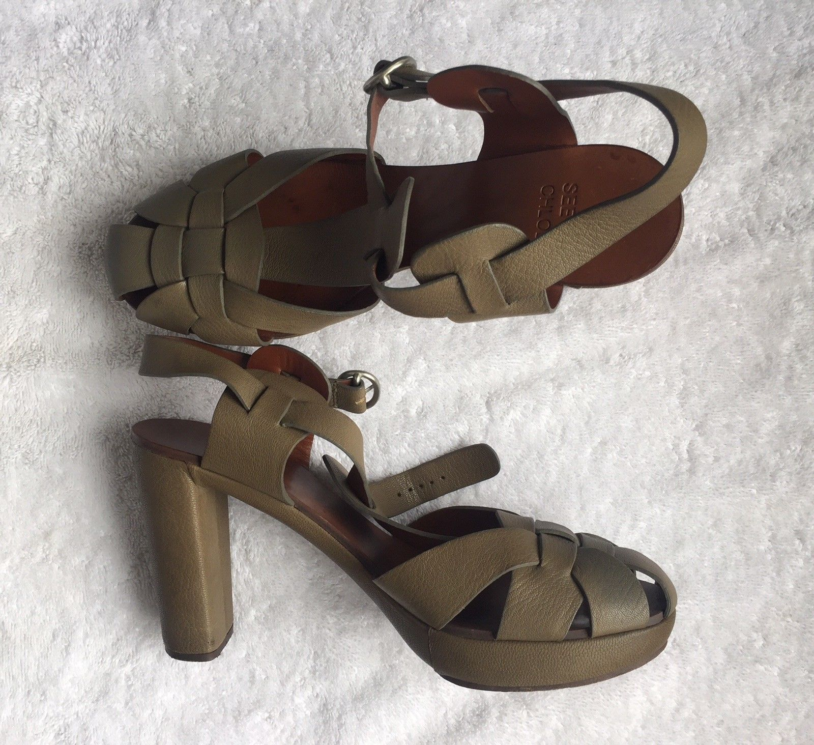 5f13dfefb95 See By Chloe Green Leather Sandals with wooden heel