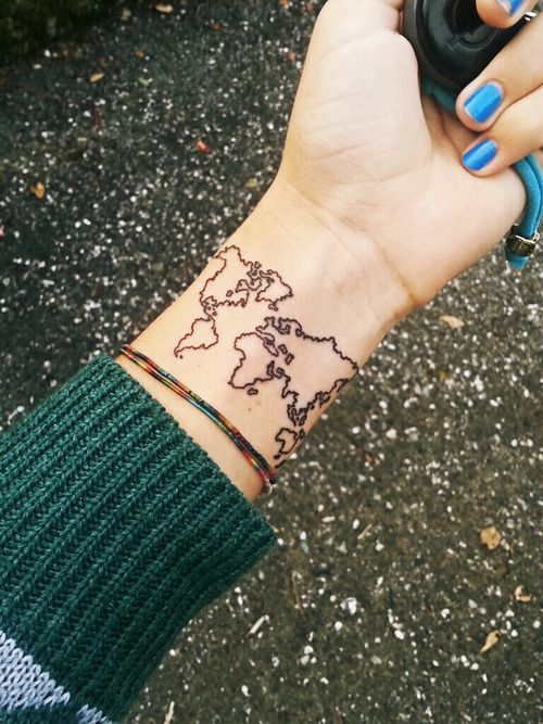 I like this onet the placement but the world what if as you world map tattoo put a dot on every place to go to gumiabroncs Image collections