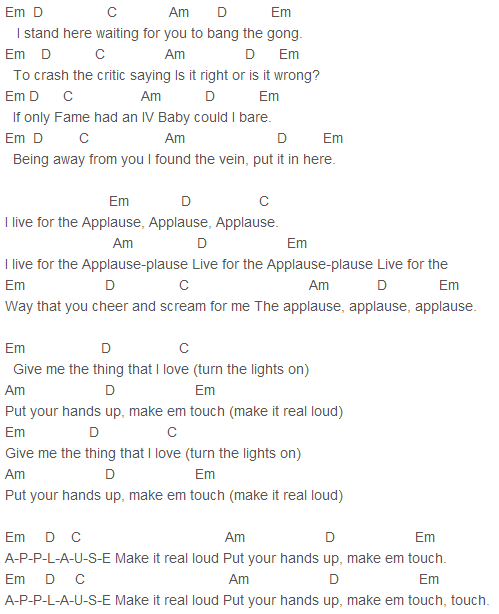 Lady Gaga - Applause Chords Capo 3