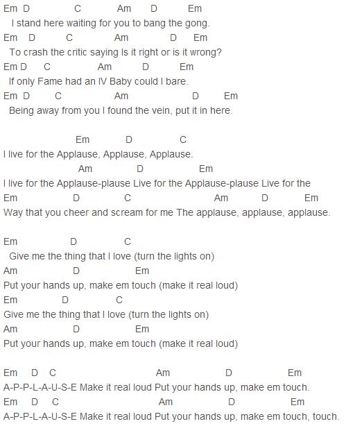 Lady Gaga - Applause Chords Capo 3 | musica | Pinterest | Lady gaga ...