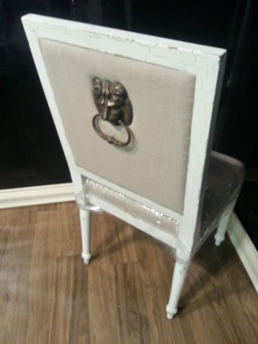 Steven Shell London Dining Chair W Lion Head White Crackle Distressed Set Of 4