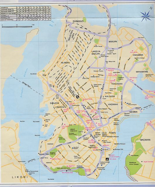 Map of Mombasa Island | mapping the universe (and beyond) | Kenya