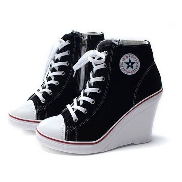 327bd1c1ccda EpicStep Women s Canvas High Top Wedges High Heels Casual Fashion Snea ❤  liked on Polyvore featuring shoes