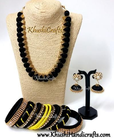 d598de6c6 Black Silk Thread Necklace set with Bangles in Black and Yellow ...