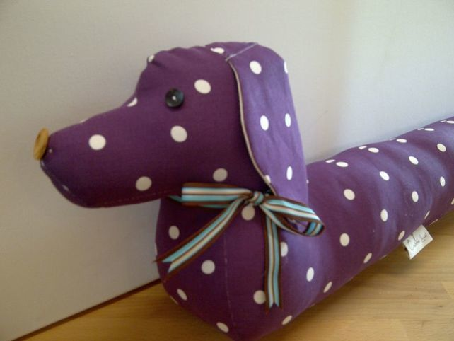 Vintage Style Sausage Dog Draught Draft Excluder - Dotty Purple ...