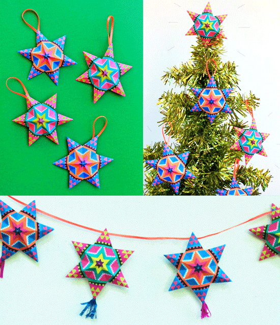 4 Diy Mexican Paper Craft Decorations Video Tutorials Templates Christmas Ornament Crafts Paper Christmas Ornaments Mexican Christmas Traditions