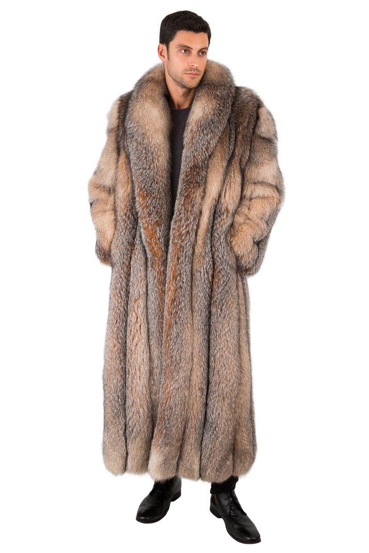 dd11e3e63d0 Long Crystal Fox Fur Coat for Men Full Length Genuine Fur Overcoat 55