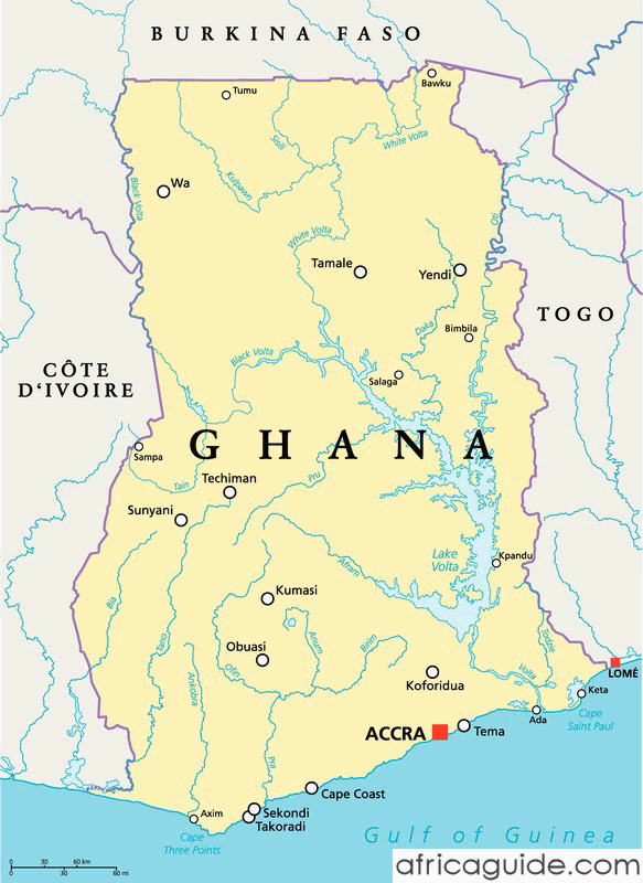 Ghana map with capital Accra Ghana Pinterest Ghana Accra and