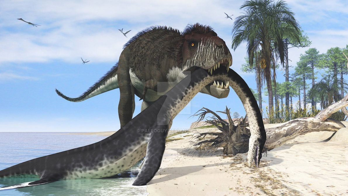 """This is some seriously amazing dinosaur art. Tyrannosaurus scavenging a plesiosaur (Leurospondylus?) along the shore of the Western Interior Sea. This was """"inspired"""" by the cover of the Prehistoric Animals book mentioned in my journal, and by..."""