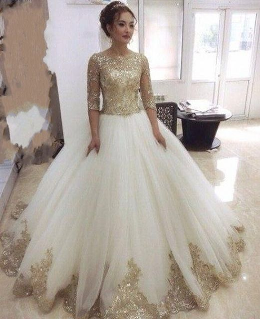 Gorgeous Gold Lace Liques Wedding Dresses With Half Sleeves 2016 Ball Gown Bridal Floor Length Vestido De Noiva