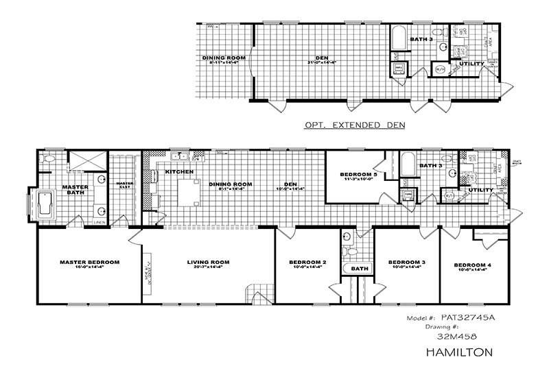 Hamilton Par32745a 4 Or 5 Bed 3 Bath Double Wide For Sale Mobile Home Floor Plans House Ventilation System Can Lights In Kitchen