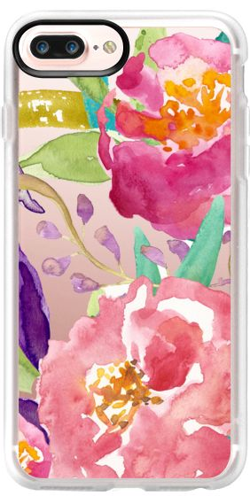 Iphone 7 Case Watercolor Floral Transparent By Julie Paurus
