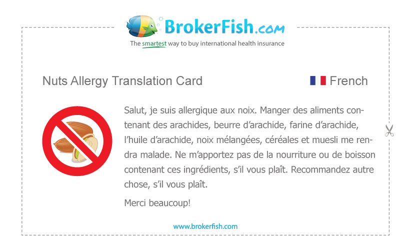 Nut Allergy French Translation Card Nut Allergies Food