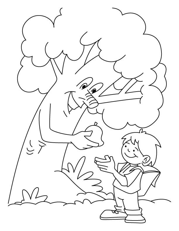 Tree Giving The Fruit To A Boy Coloring Pages In