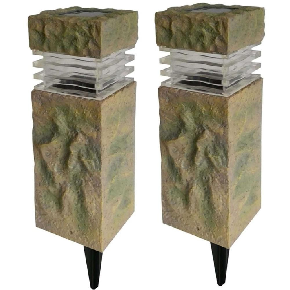 Hampton Bay Solar Powered Rock Outdoor Pillar Path Light 2 Pack 49856 The Home Depot Solar Rock Lights Solar Landscape Lighting Path Lights