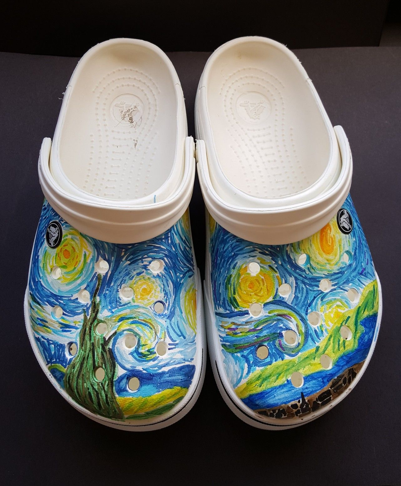 73fd00bba9c Starry night on my crocs. Done by my 7th grade student at Lowell Middle  School... Art Ed Central lancdon knocked it out of the park!!!