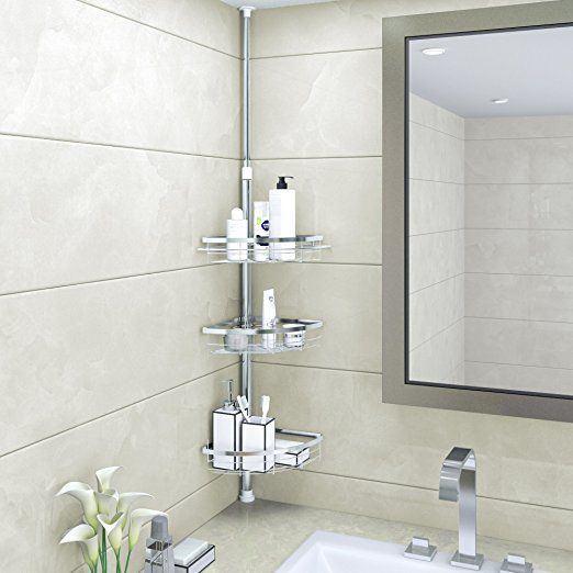 Lifewit Corner Shower Caddy 3 Tier Adjule Bathroom Constant Tension Pole Free Standing Cads For Shampoo Conditioner
