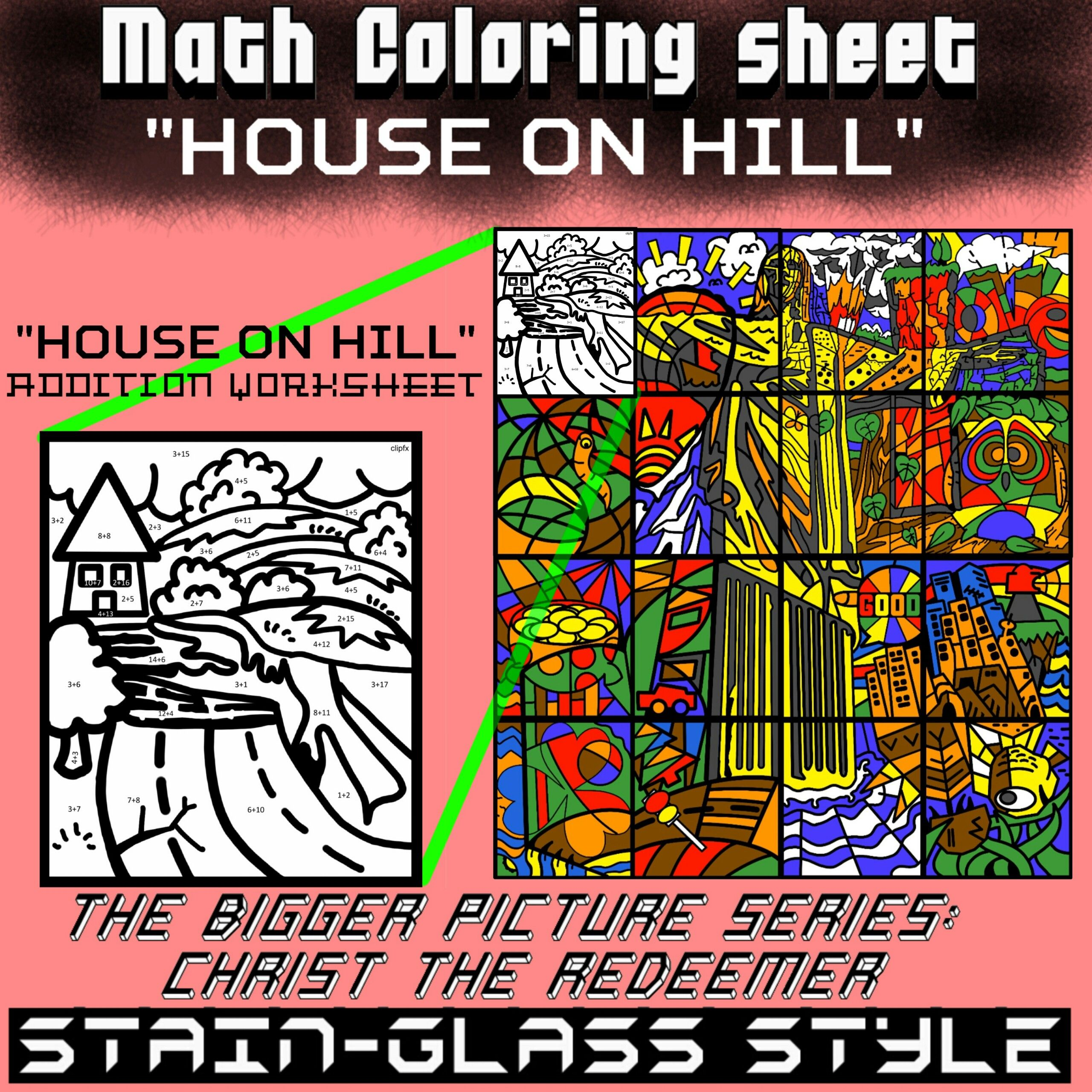 Math Colouring Worksheet Addition House
