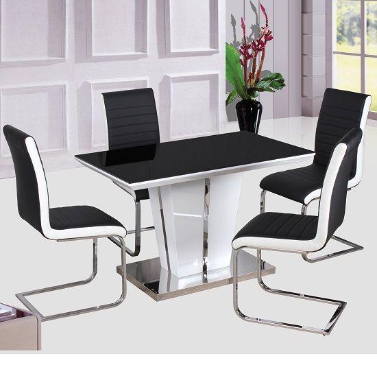 Dining Table Sets Black And White Dining Table 4 Chairs: Memphis High Gloss Dining Table Glass Top 120Cm With 4