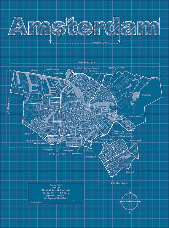 Amsterdam Map Art Amsterdam Wall Map Amsterdam Street Map Blueprint Art Amsterdam Map Art Amsterdam Map Blueprints