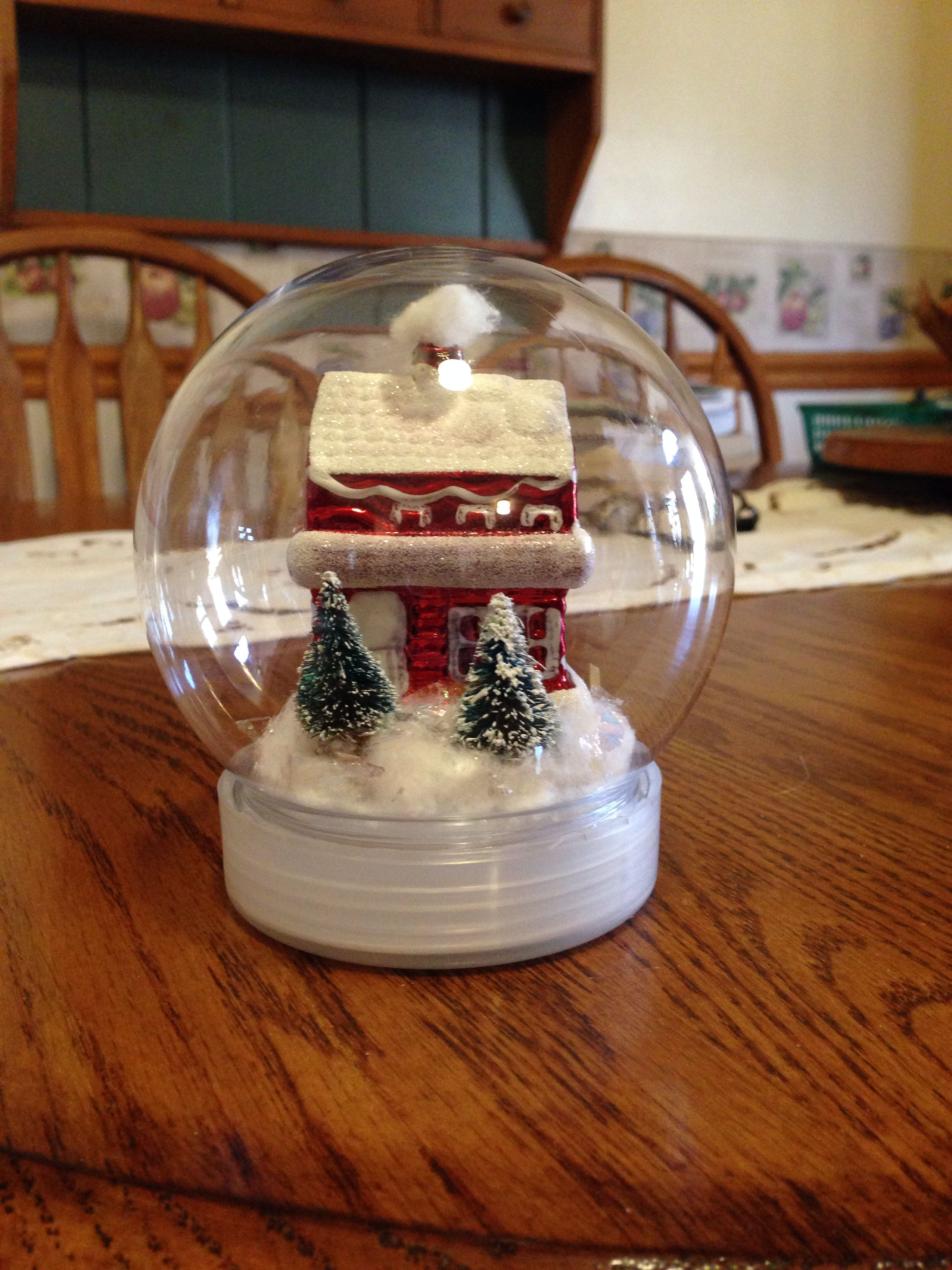 Homemade snow globe! Plastic snow globes at michaels or